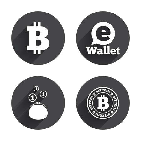 peer: Bitcoin icons. Electronic wallet sign. Cash money symbol. Circles buttons with long flat shadow. Vector