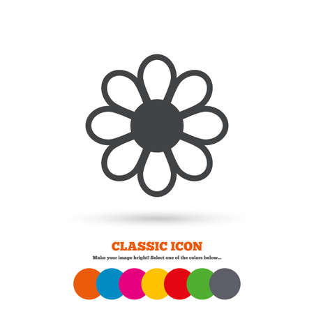 flower petals: Flower with petals sign icon. Blossom symbol. Classic flat icon. Colored circles. Vector Illustration