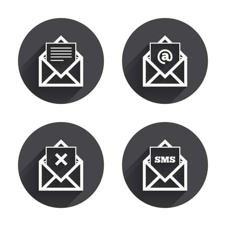 webmail: Mail envelope icons. Message document symbols. Post office letter signs. Delete mail and SMS message. Circles buttons with long flat shadow. Vector Illustration