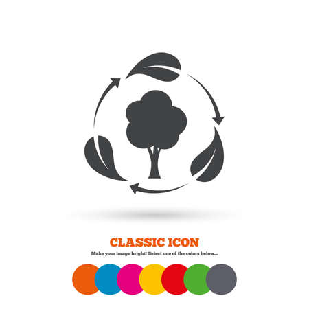 fresh air: Fresh air sign icon. Forest tree with leaves symbol. Classic flat icon. Colored circles. Vector