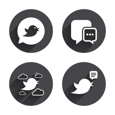nestling birds: Birds icons. Social media speech bubble. Chat bubble with three dots symbol. Circles buttons with long flat shadow. Vector