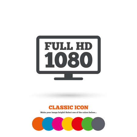 full hd: Full hd widescreen tv sign icon. 1080p symbol. Classic flat icon. Colored circles. Vector