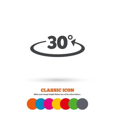 math icon: Angle 30 degrees sign icon. Geometry math symbol. Classic flat icon. Colored circles. Vector Illustration