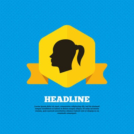 head tag: Head sign icon. Female woman human head with pigtail symbol. Yellow label tag. Circles seamless pattern on back. Vector