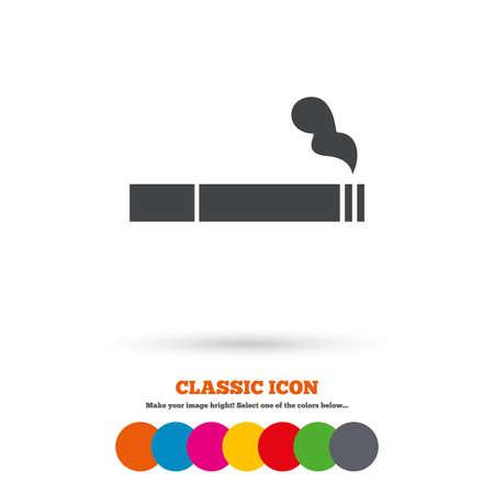 Smoking sign icon. Cigarette symbol. Classic flat icon. Colored circles. Vector Illustration