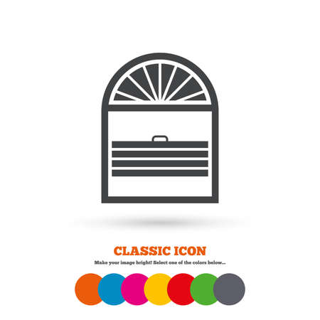 window blinds: Louvers plisse sign icon. Window blinds or jalousie symbol. Classic flat icon. Colored circles. Vector