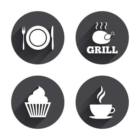 food plate: Food and drink icons. Muffin cupcake symbol. Plate dish with fork and knife sign. Hot coffee cup. Circles buttons with long flat shadow. Vector