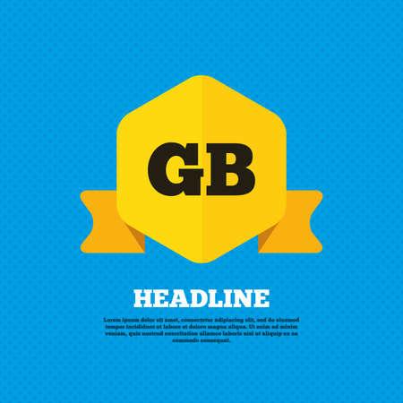 gb: British language sign icon. GB Great Britain translation symbol. Yellow label tag. Circles seamless pattern on back. Vector