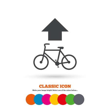 straight path: Bicycle path trail sign icon. Cycle path. Up straight arrow symbol. Classic flat icon. Colored circles. Vector