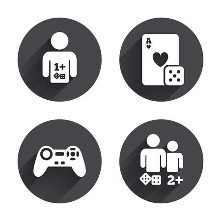 playing video game: Gamer icons. Board games players signs. Video game joystick symbol. Casino playing card. Circles buttons with long flat shadow. Vector