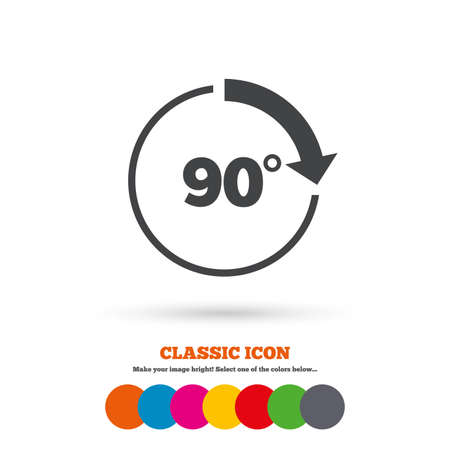 math icon: Angle 90 degrees sign icon. Geometry math symbol. Right angle. Classic flat icon. Colored circles. Vector