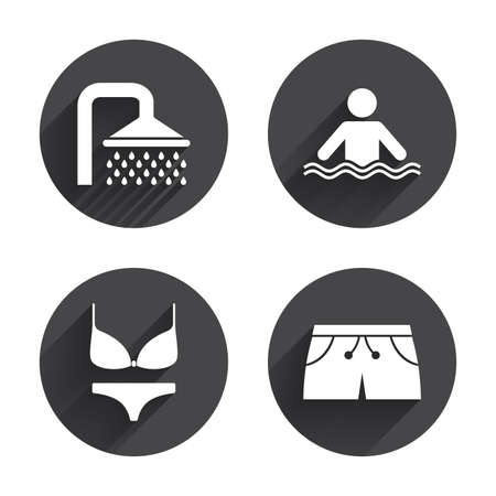 women in underwear: Swimming pool icons. Shower water drops and swimwear symbols. Human stands in sea waves sign. Trunks and women underwear. Circles buttons with long flat shadow. Vector