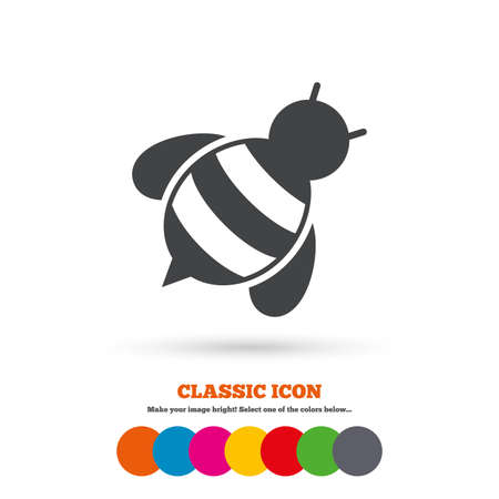 apis: Bee sign icon. Honeybee or apis with wings symbol. Flying insect diagonal. Classic flat icon. Colored circles. Vector
