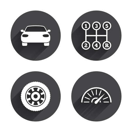 tacometro: Transport icons. Car tachometer and mechanic transmission symbols. Wheel sign. Circles buttons with long flat shadow. Vector