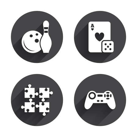 playing video game: Bowling and Casino icons. Video game joystick and playing card with puzzles pieces symbols. Entertainment signs. Circles buttons with long flat shadow. Vector Illustration