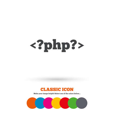 php: PHP sign icon. Programming language symbol. Classic flat icon. Colored circles. Vector