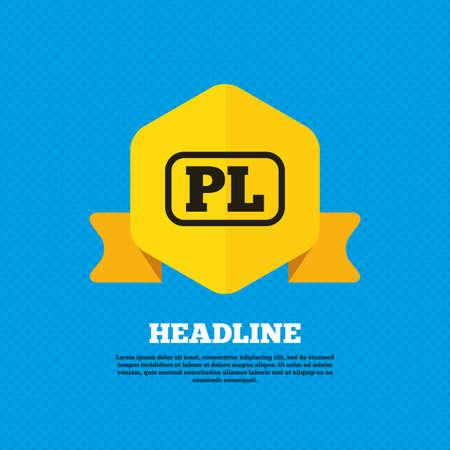 pl: Polish language sign icon. PL translation symbol with frame. Yellow label tag. Circles seamless pattern on back. Vector Illustration