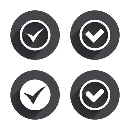 confirm: Check icons. Checkbox confirm circle sign symbols. Circles buttons with long flat shadow. Vector Illustration