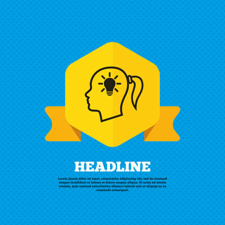 head tag: Head with lamp bulb sign icon. Female woman human head idea with pigtail symbol. Yellow label tag. Circles seamless pattern on back. Vector