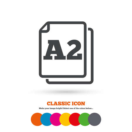 a2: Paper size A2 standard icon. File document symbol. Classic flat icon. Colored circles. Vector