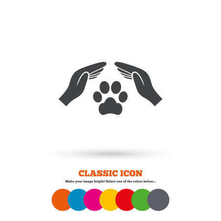 Protection of animals sign icon. Hands protect paw symbol. Shelter for dogs. Animals insurance. Classic flat icon. Colored circles. Vector
