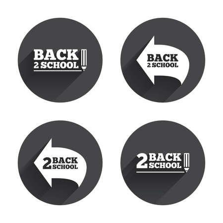 after school: Back to school icons. Studies after the holidays signs. Pencil symbol. Circles buttons with long flat shadow. Vector