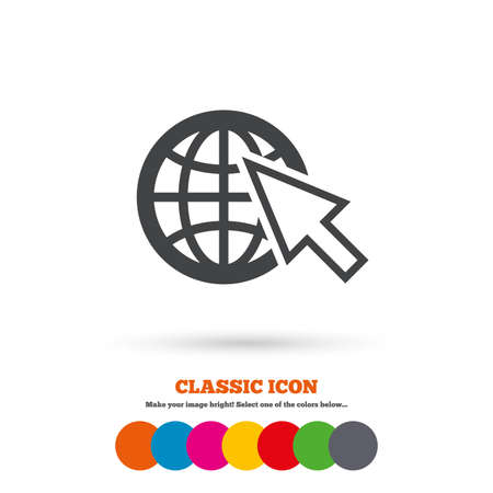 world wide web: Internet sign icon. World wide web symbol. Cursor pointer. Classic flat icon. Colored circles. Vector