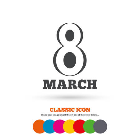 holiday symbol: 8 March Womens Day sign icon. Holiday symbol. Classic flat icon. Colored circles. Vector