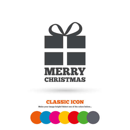 christmas present: Merry christmas gift sign icon. Present symbol. Classic flat icon. Colored circles. Vector