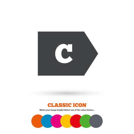 consommation: Cat�gorie d'efficacit� �nerg�tique C signe ic�ne. Symbole de consommation d'�nergie. Ic�ne plat classique. Cercles color�s. Vecteur