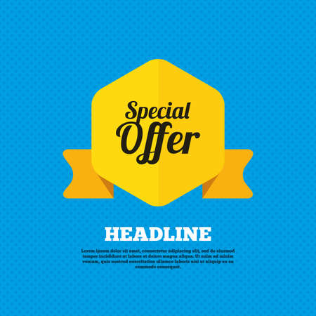 offer icon: Special offer sign icon. Sale symbol. Yellow label tag. Circles seamless pattern on back. Vector