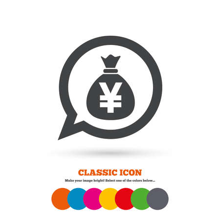 jpy: Money bag sign icon. Yen JPY currency speech bubble symbol. Classic flat icon. Colored circles. Vector