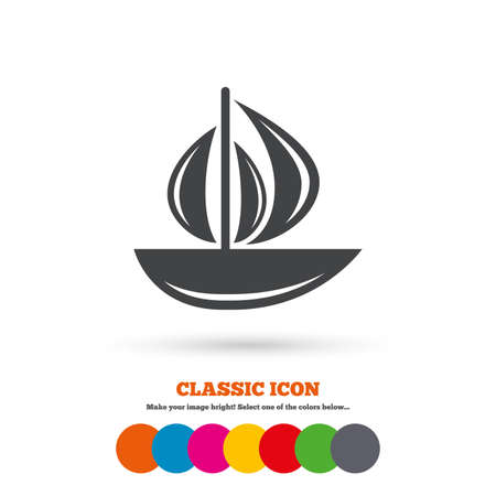 ship sign: Sail boat icon. Ship sign. Shipment delivery symbol. Classic flat icon. Colored circles. Vector