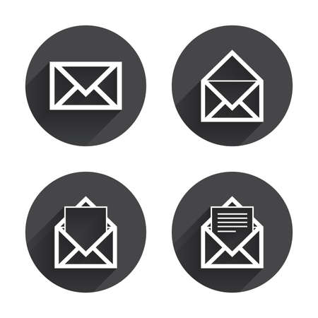 post office: Mail envelope icons. Message document symbols. Post office letter signs. Circles buttons with long flat shadow. Vector Illustration