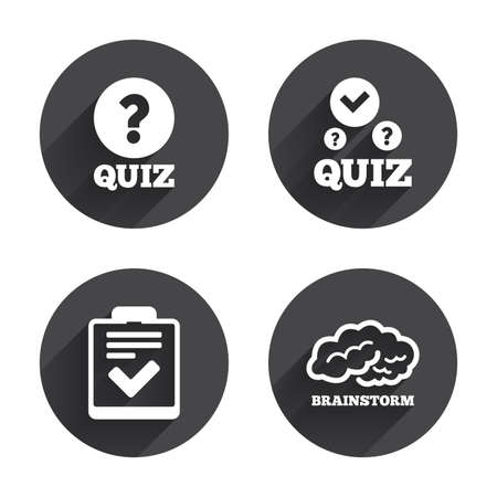 feedback form: Quiz icons. Human brain think. Checklist with check mark symbol. Survey poll or questionnaire feedback form sign. Circles buttons with long flat shadow. Vector Illustration