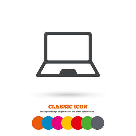 ultrabook: Laptop sign icon. Notebook pc symbol. Classic flat icon. Colored circles. Vector Illustration