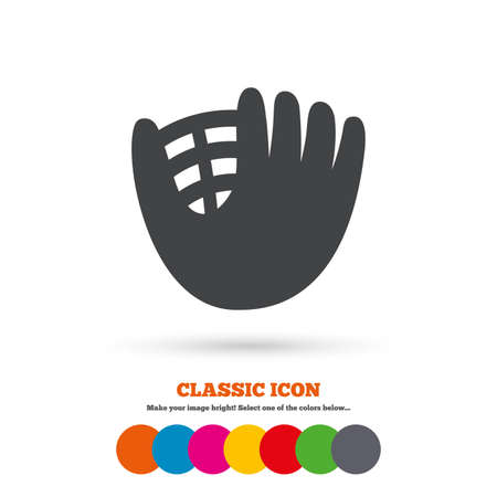 mitt: Baseball glove or mitt sign icon. Sport symbol. Classic flat icon. Colored circles. Vector Illustration