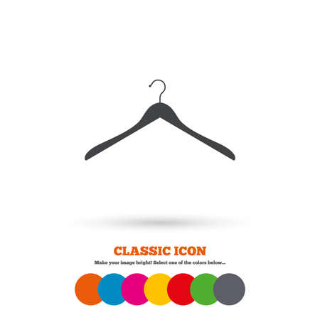 cloakroom: Hanger sign icon. Cloakroom symbol. Classic flat icon. Colored circles. Vector