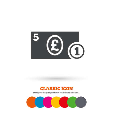 gbp: Cash sign icon. Pound Money symbol. GBP Coin and paper money. Classic flat icon. Colored circles. Vector Illustration