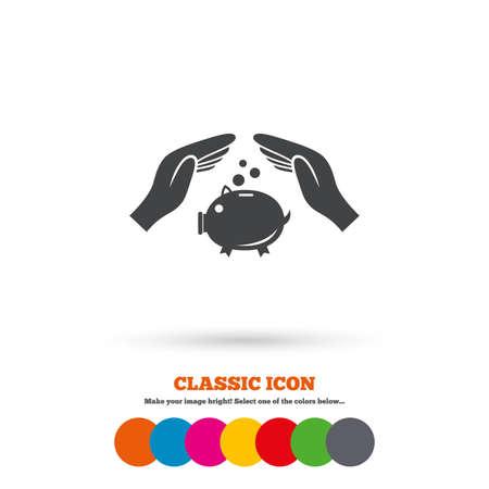 banco dinero: Hucha dinero signo icono. Manos protegen s�mbolo hucha. El dinero o ahorros seguros. Icono plana Classic. C�rculos coloreados. Vector