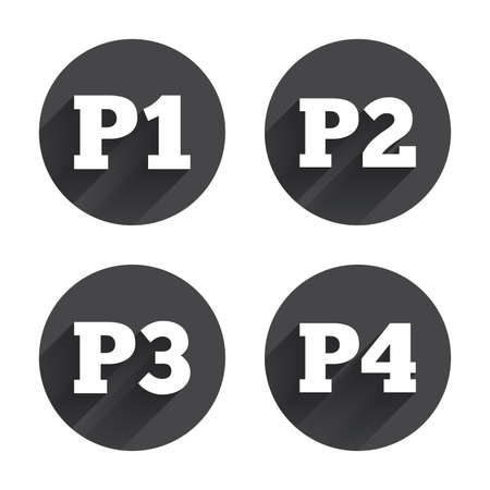 second floor: Car parking icons. First, second, third and four floor signs. P1, P2, P3 and P4 symbols. Circles buttons with long flat shadow. Vector