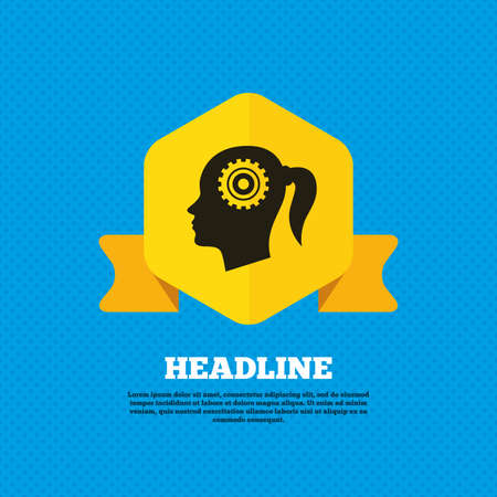 head tag: Head with gear sign icon. Female woman human head think symbol. Yellow label tag. Circles seamless pattern on back. Vector