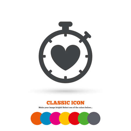 palpitation: Heart Timer sign icon. Stopwatch symbol. Heartbeat palpitation. Classic flat icon. Colored circles. Vector