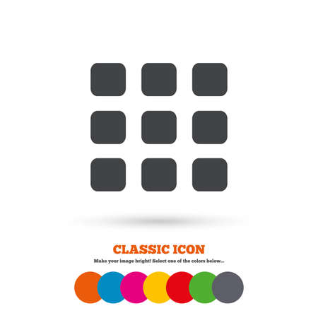 thumbnails: Thumbnails grid sign icon. Gallery view option symbol. Classic flat icon. Colored circles. Vector