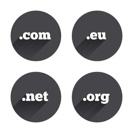 dns: Top-level internet domain icons. Com, Eu, Net and Org symbols. Unique DNS names. Circles buttons with long flat shadow. Vector Illustration