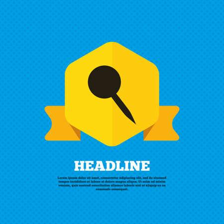 yellow pushpin: Pushpin sign icon. Pin button. Yellow label tag. Circles seamless pattern on back. Vector Illustration