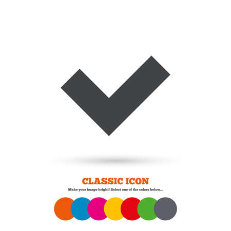 check sign: Check sign icon. Yes button. Classic flat icon. Colored circles. Vector
