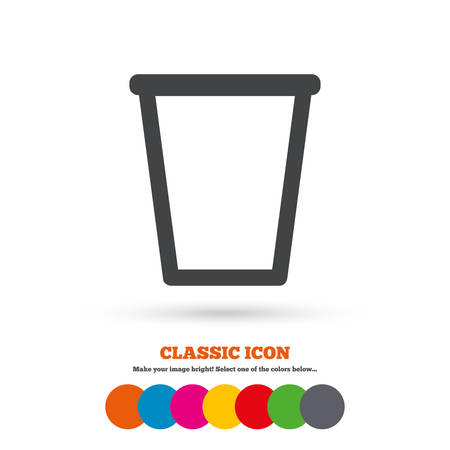 Recycle Bin Sign Icon Bin Symbol Classic Flat Icon Colored