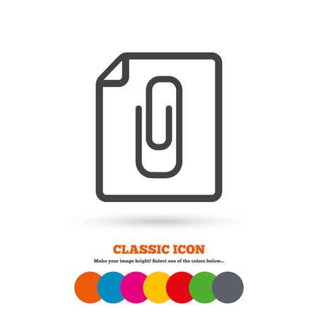 attach: File annex icon. Paper clip symbol. Attach symbol. Classic flat icon. Colored circles. Vector Illustration
