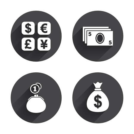 Currency Exchange Icon Cash Money Bag And Wallet With Coins